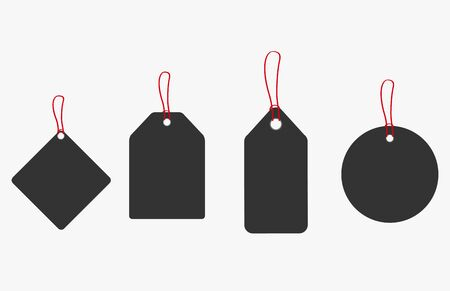 Set of blank gift box tags or sale shopping labels with rope. Vector illustration