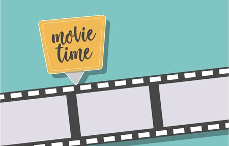 Movie time banner for the cinematic projects. Vector illustration.