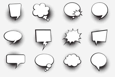 Retro comic bubbles set with halftone shadows on white background. Vector illustration, vintage design, pop art style. Vector illustration