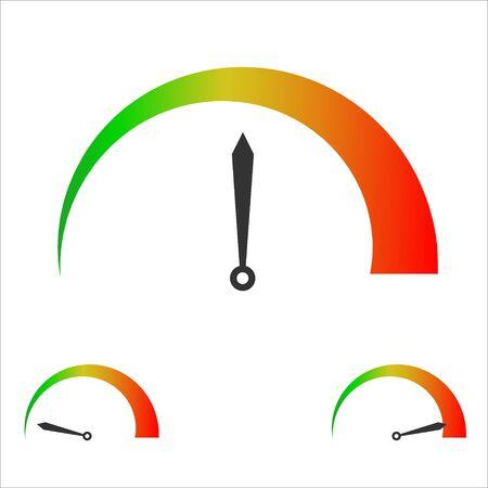 Speed score indicators. Speedometer goods gauge rating meter. Level indicator, credit loan scoring. Ilustrace