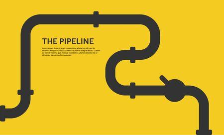 Industrieller Hintergrund mit gelber Rohrleitung. Öl-, Wasser- oder Gaspipeline mit Armaturen und Ventilen. Web-Banner-Vorlage. Vektorgrafik