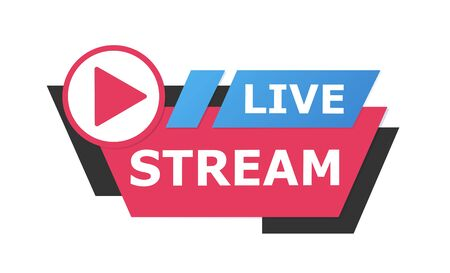 Live streaming logo - red vector design element with play button for news and TV