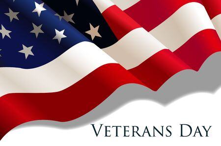 Veterans Day holiday banner with realistic American Flag. Vector illustration