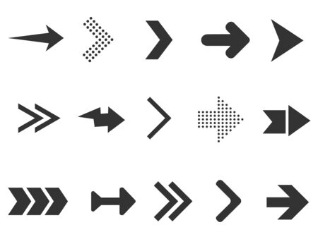 Black arrows collection isolated on white background. Collection for web design, interface, UI and more. Vector illustration
