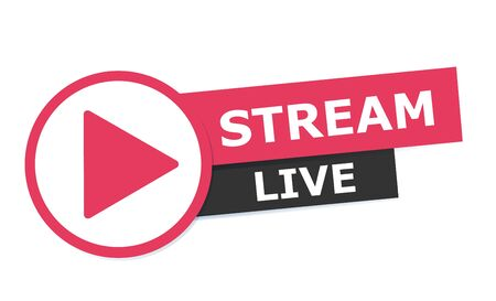 Live streaming logo - vector design element with play button for news and TV or online broadcasting Çizim