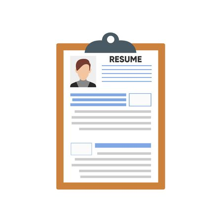 Resume Cv Template With Photo And Details. Vector illustration