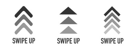 Swipe up icon set isolated for stories design. Swipe up buttons set for social media. Vector illustration