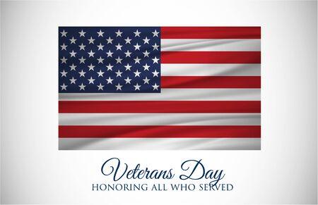 Veterans Day celebration illustration. US flag on HD background banner. Remember and honor. Vector illustration