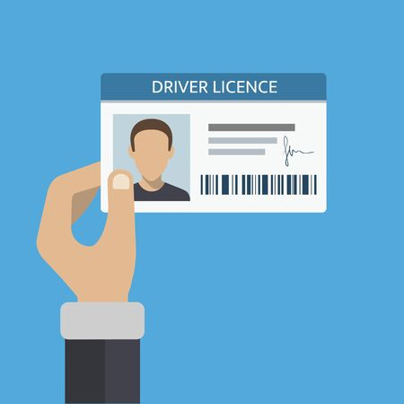 Driver license card in hand. ID number and photo included. Vector illustration Archivio Fotografico - 134752979