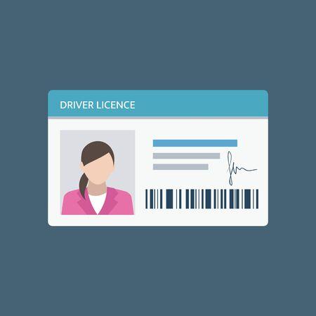 Patente di guida icona in stile piatto, carta d'identità. Carta d'identità, carta d'identità, verifica dell'identità, dati anagrafici. Illustrazione vettoriale.