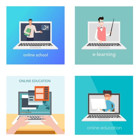 Set of web page design templates for e-learning, online education, e-book. Modern vector illustration concepts for website and mobile website development. Stock Vector - 134753132