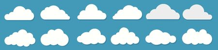 White flat clouds set on the blue background. Vector collection.