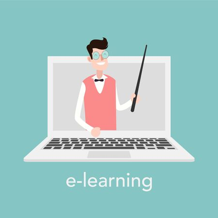 E-learning concept for online school. Vector laptop on blue background. Vector illustration