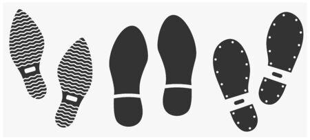 Human footwear footprints icon set isolated on white. Vector illustration