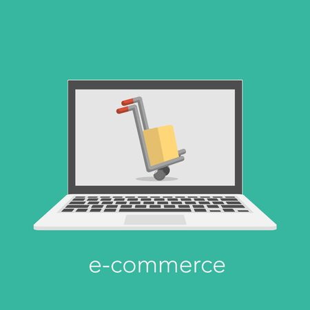 E commerce concept with a shopping box on the laptop screen. Vector illustration