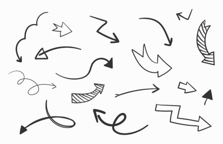 Hand drawn arrows set on white background. Vector Illustration