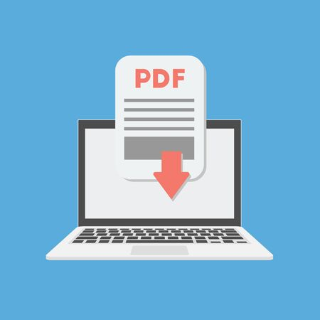 Pdf document download on the laptop concept. Vector illustration.