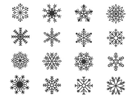 Große Reihe von Design-Feiertags-Schneeflocken isolieren auf blauem Hintergrund. Vektor-Illustration