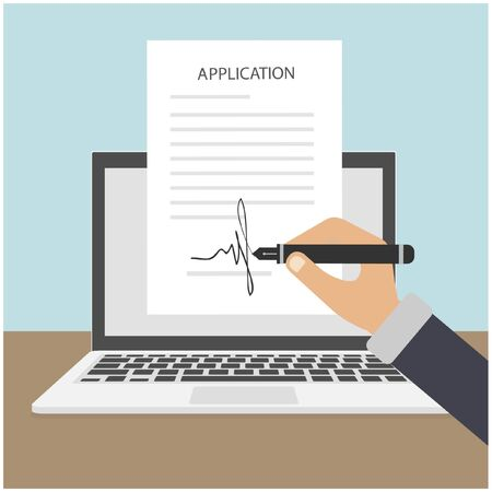 Application signature online. Smart contract on the laptop. Human hands. Vector illustration