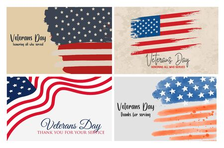 Set of brochure, poster templates in veterans day style. Beautiful design and layout. Veterans Day