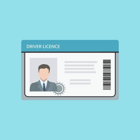 Driver license card with a photo and ID number. Vector illustration