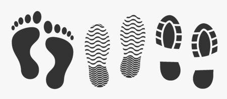 Black unique human footprints set isolated on white. Vector illustration Vetores
