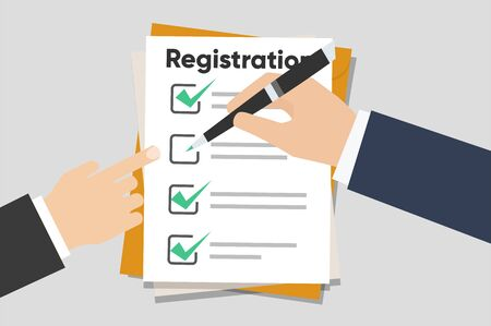 Man hold Registration clipboard with checklist. Man hold in hand clipboard agreement. Flat design, vector illustration on background
