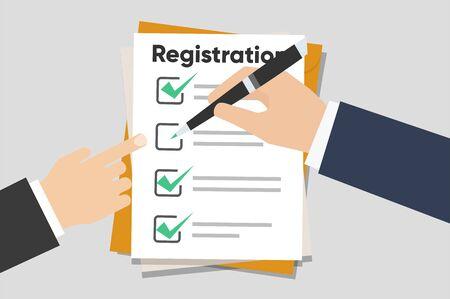 Mann hält Registrierungszwischenablage mit Checkliste. Mann hält in der Hand-Zwischenablage-Vereinbarung. Flaches Design, Vektorillustration im Hintergrund