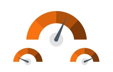 Feedback Speedometer, Customer Satisfaction Meter, Product Rating Icons - Vector Illustration Illusztráció
