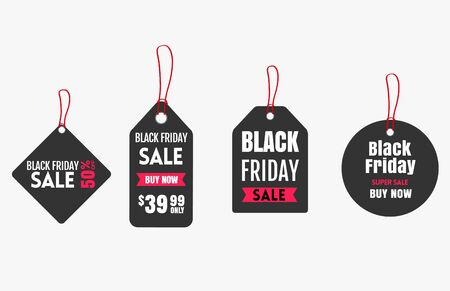 Paper Price Tag set for Black Friday discounts. Vector illustration