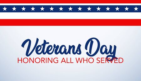 Veterans Day celebration illustration. HD background banner. Honoring all who served. Vector illustration  イラスト・ベクター素材