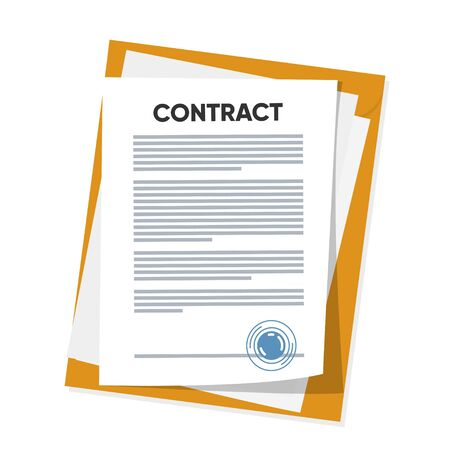 Vector illustration of signed business contract, agreement icon with round stamps on clipboard with golden, red pen. Paper deal