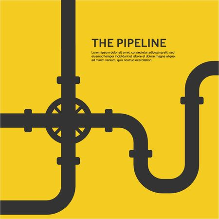 Industrial background with yellow pipeline. Oil, water or gas pipeline with fittings and valves. Vector illustration in a flat style. Vettoriali