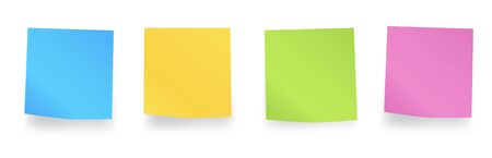 Sticky colored notes. Blank post for message, to do list, memory. Set different colored sheets of note paper. Post note paper with curled corners and shadows. Vector illustration
