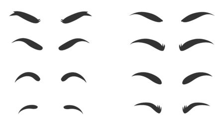 Eyebrows shapes Set. Eyebrow shapes. Various types of eyebrows. Makeup tips. Eyebrow shaping for women. Classic type and different thickness of brows.
