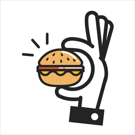 Thin line icon hand holding a burger, fast food icon isolated on white. Vector illustration