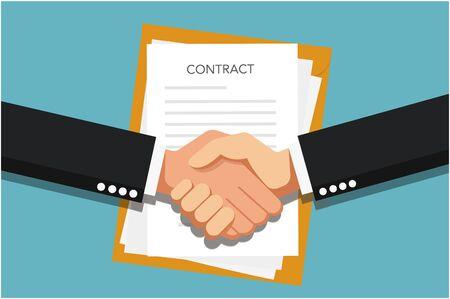 Conclusión del contrato. Apretón de manos. Dos manos haciendo un apretón de manos, concepto de negocio. Imagen vectorial