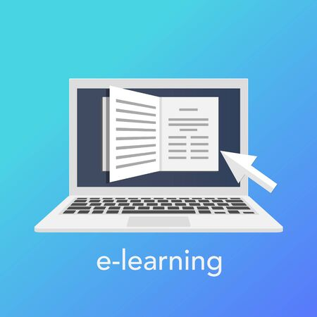 E-learning concept for online school. Vector laptop on the blue background. Vector illustration Ilustração