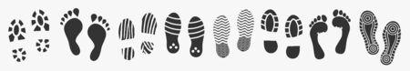 Human footprint set isolated on white. Vector illustration