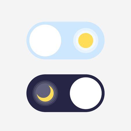 Interruttore modalità giorno e notte. Sole e Luna. Attivazione, disattivazione della modalità di sospensione. Interruttore On Off. Pulsanti chiari e scuri.