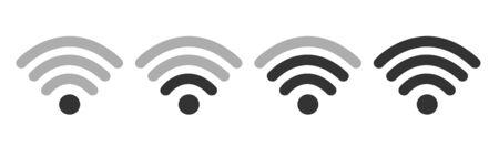 Wifi Wireless W Lan Internet Signal Flat Icons For Apps Or Websites - Isolated On white Background
