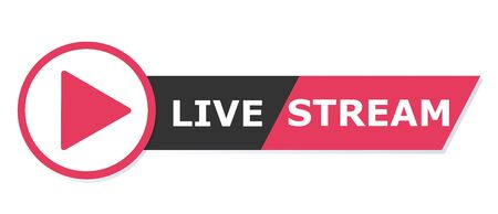 Red Live streaming logo - vector design element with play button for news and TV or online broadcasting