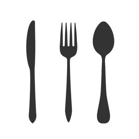 Knife, fork and spoon isolated on white background. Vector illustration.