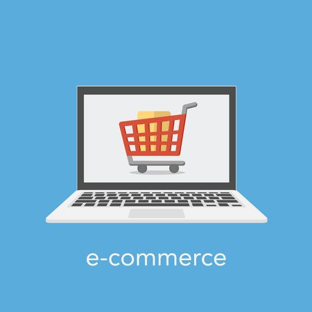 E commerce concept with a shopping cart on the laptop screen. Vector illustration