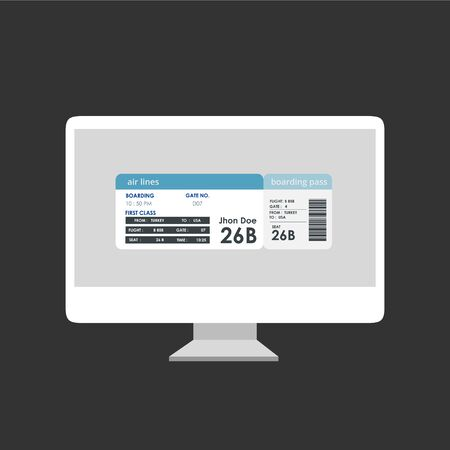 Online check-in with printed boarding pass on monitor screen isolated over black background. Vector illustration Illusztráció