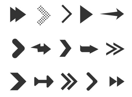 Black arrows set isolated on white background. Collection for web design, interface, UI and more. Vector illustration