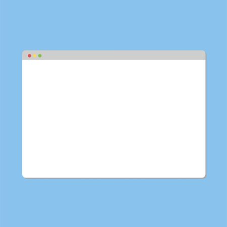 Simple Browser window on blue background. Vector illustration