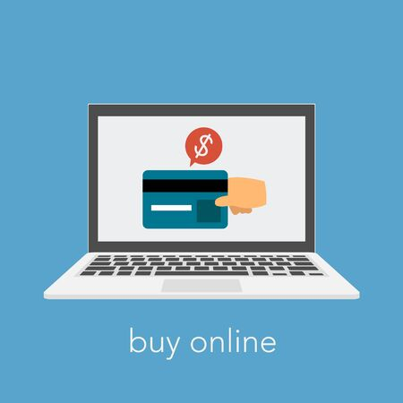 Buy online slogan with laptop and credit card. A hand making payment. Vector Illustration Illustration