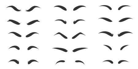 Eyebrows shapes Set. Eyebrow shapes. Various types of eyebrows. Makeup tips. Classic type and different thickness of brows.