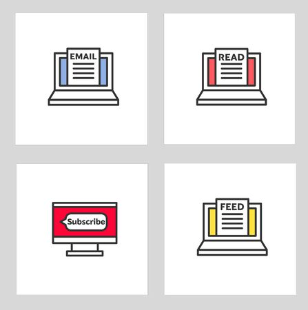 News feed icon. isolated news feed icon vector illustration from general collection. Editable sing symbol can be use for web site. And mobile app Illusztráció